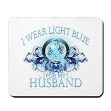 I Wear Light Blue for my Husband (floral) Mousepad