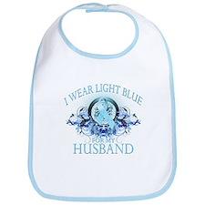 I Wear Light Blue for my Husband (floral) Bib