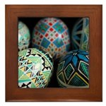 Pysanky Group, Blues Framed Tile