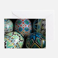 Pysanky Group, Blues Greeting Card