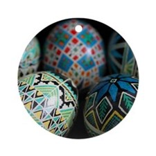 Pysanky Group, Blues Ornament (Round)