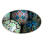 Pysanky Group, Blues Sticker (Oval)