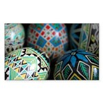 Pysanky Group, Blues Sticker (Rectangle)