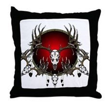 Deer skull with feathers Throw Pillow