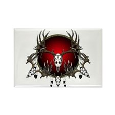 Deer skull with feathers Rectangle Magnet