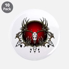 """Deer skull with feathers 3.5"""" Button (10 pack)"""