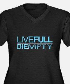 Live Full Women's Plus Size V-Neck Dark T-Shirt