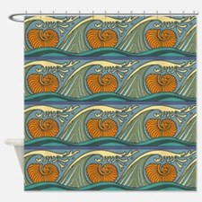 Blue Waves Seashell Pattern Shower Curtain