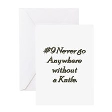 Rule 9 Never go anywhere without a knife Greeting
