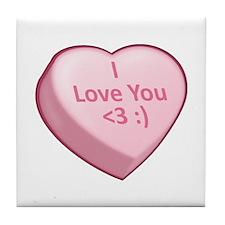 I Love You <3 :) Tile Coaster