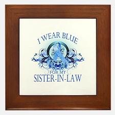 I Wear Blue for my Sister In Law (floral) Framed T