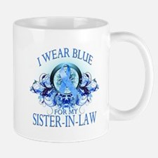 I Wear Blue for my Sister In Law (floral) Mug