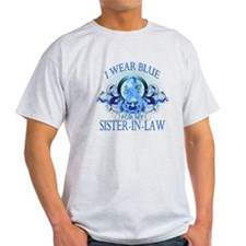 I Wear Blue for my Sister In Law (floral) T-Shirt