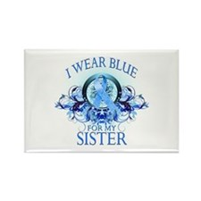 I Wear Blue for my Sister (floral) Rectangle Magne