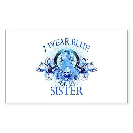 I Wear Blue for my Sister (floral) Sticker (Rectan