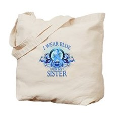 I Wear Blue for my Sister (floral) Tote Bag