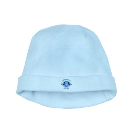 I Wear Blue for my Sister (floral) baby hat