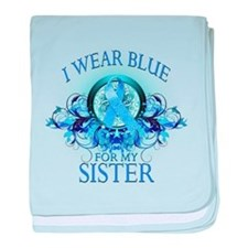 I Wear Blue for my Sister (floral) baby blanket
