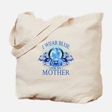 I Wear Blue for my Mother (floral) Tote Bag