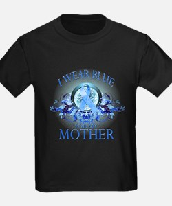 I Wear Blue for my Mother (floral) T