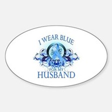 I Wear Blue for my Husband (floral) Sticker (Oval)