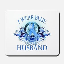 I Wear Blue for my Husband (floral) Mousepad
