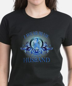 I Wear Blue for my Husband (floral) Tee