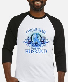 I Wear Blue for my Husband (floral) Baseball Jerse