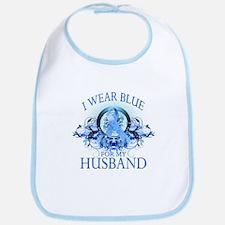 I Wear Blue for my Husband (floral) Bib