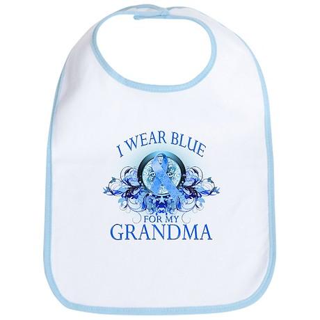 I Wear Blue for my Grandma (floral) Bib