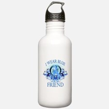 I Wear Blue for my Friend (floral) Water Bottle