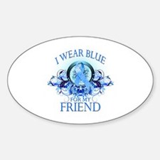 I Wear Blue for my Friend (floral) Sticker (Oval)