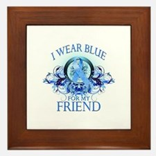 I Wear Blue for my Friend (floral) Framed Tile
