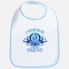 I Wear Blue for my Friend (floral) Bib