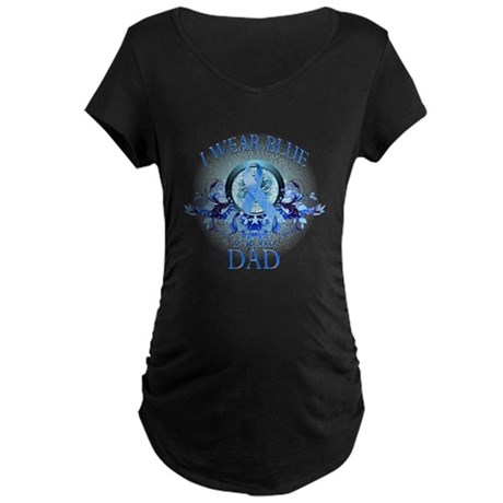 I Wear Blue for my Dad (floral) Maternity Dark T-S