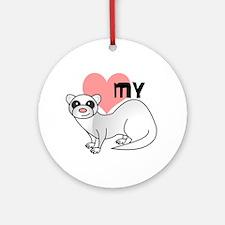 Love My Silver Ferret Ornament (Round)