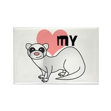 Love My Silver Ferret Rectangle Magnet