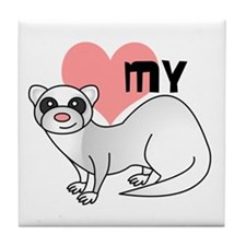 Love My Silver Ferret Tile Coaster