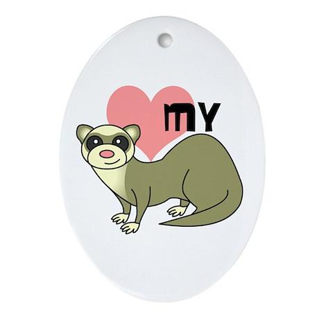 Love My Ferret - Light / Cinnamon Ornament (Oval)