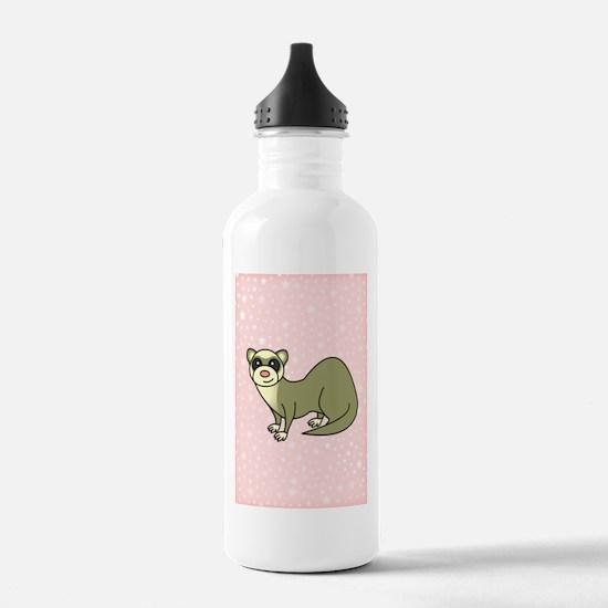 Cute Ferret Pink Star Water Bottle