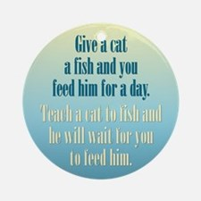 Give a Cat a Fish (Male) Ornament (Round)