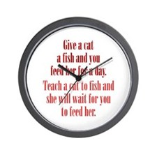 Give a Cat a Fish (Female) Wall Clock