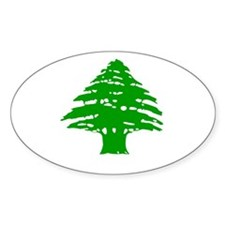 Green Cedar Tree Oval Decal