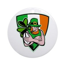 Irish leprechaun rugby Ornament (Round)