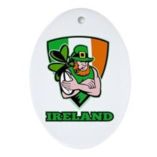 Irish leprechaun rugby Ornament (Oval)