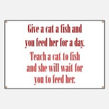 Give a Cat a Fish (Female) Banner