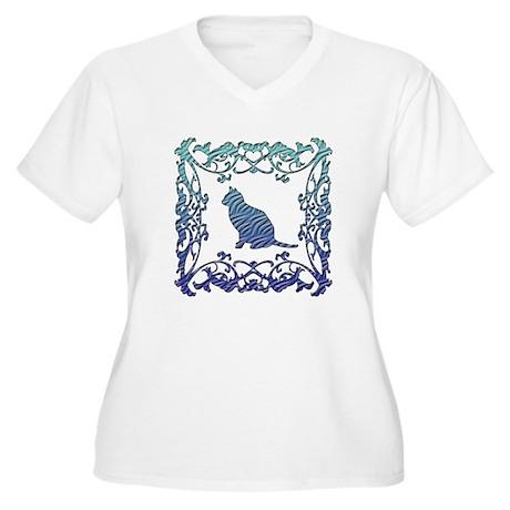 Cat Lattice Women's Plus Size V-Neck T-Shirt
