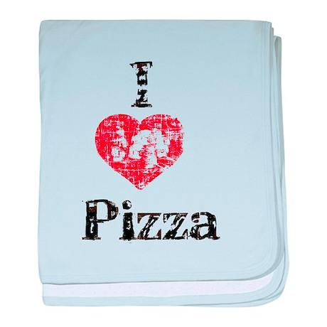 Vintage I Heart Pizza baby blanket