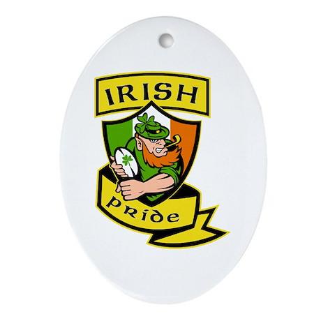 Irish leprechaun rugby Ornament (Oval)