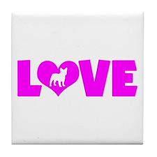 LOVE FRENCH BULLDOG Tile Coaster